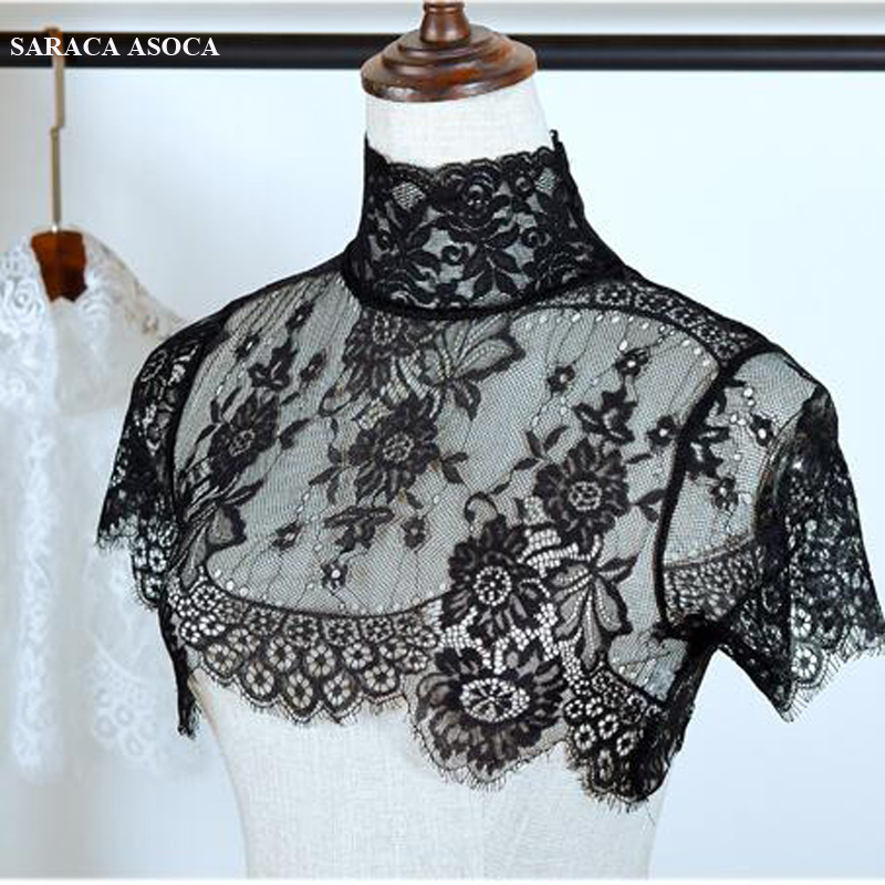 Fashion Lace Perspective Black Standing Detachable Collars Shawl Women All Match Lace Sweater Faek Collar Smock Lady A332-1