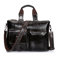 "100% Guarantee REAL Genuine Leather Bag Vintage Casual Men Leather Handbag 14"" Inch Laptop Bag Retro Business Men Briefcase"