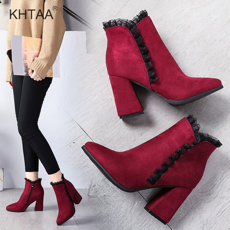 High Heels Lace Women Ankle Boots Autumn European Zipper Ladies Shoes 2018 New Hoof Heel Pointed Toe Platform Female Footwear
