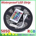 Waterproof RGB Led Strip 5050 5M 300LED SMD IP65 Tape LED with Mini 24Key Remote controller LED Light Outdoor Decoration