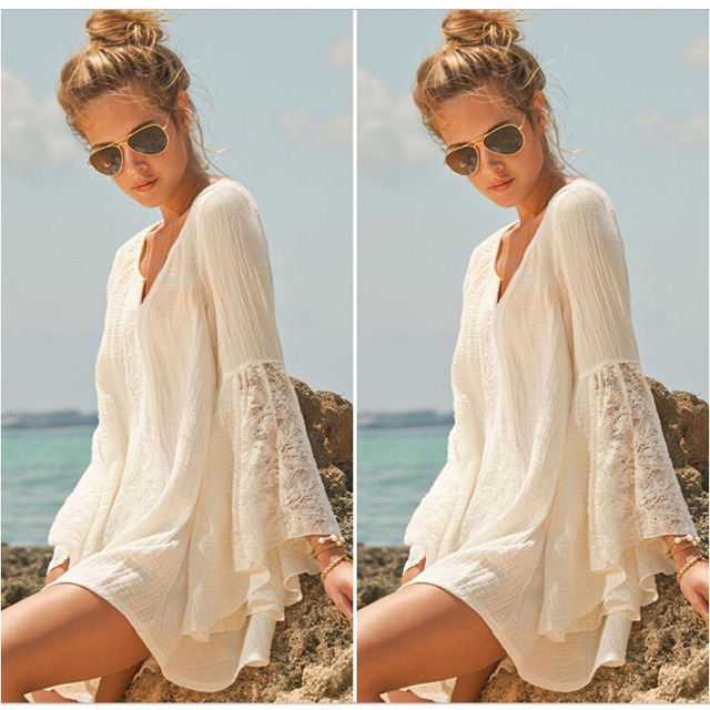 Sexy bañadores túnica mujer bikini Encaje blusa suelta Sol camisa ...