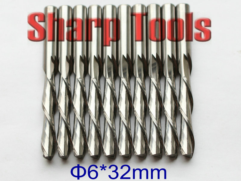 Fast DOWN-Cutting! 6x32mm 2 Flute Bits Solid Carbide Endmill CNC Woodworking Cutter Tools, Milling CNC Wood Router Bits Set