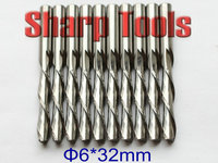 Fast DOWN Cutting 6x32mm 2 Flute Bits Solid Carbide Endmill CNC Woodworking Cutter Tools Milling CNC