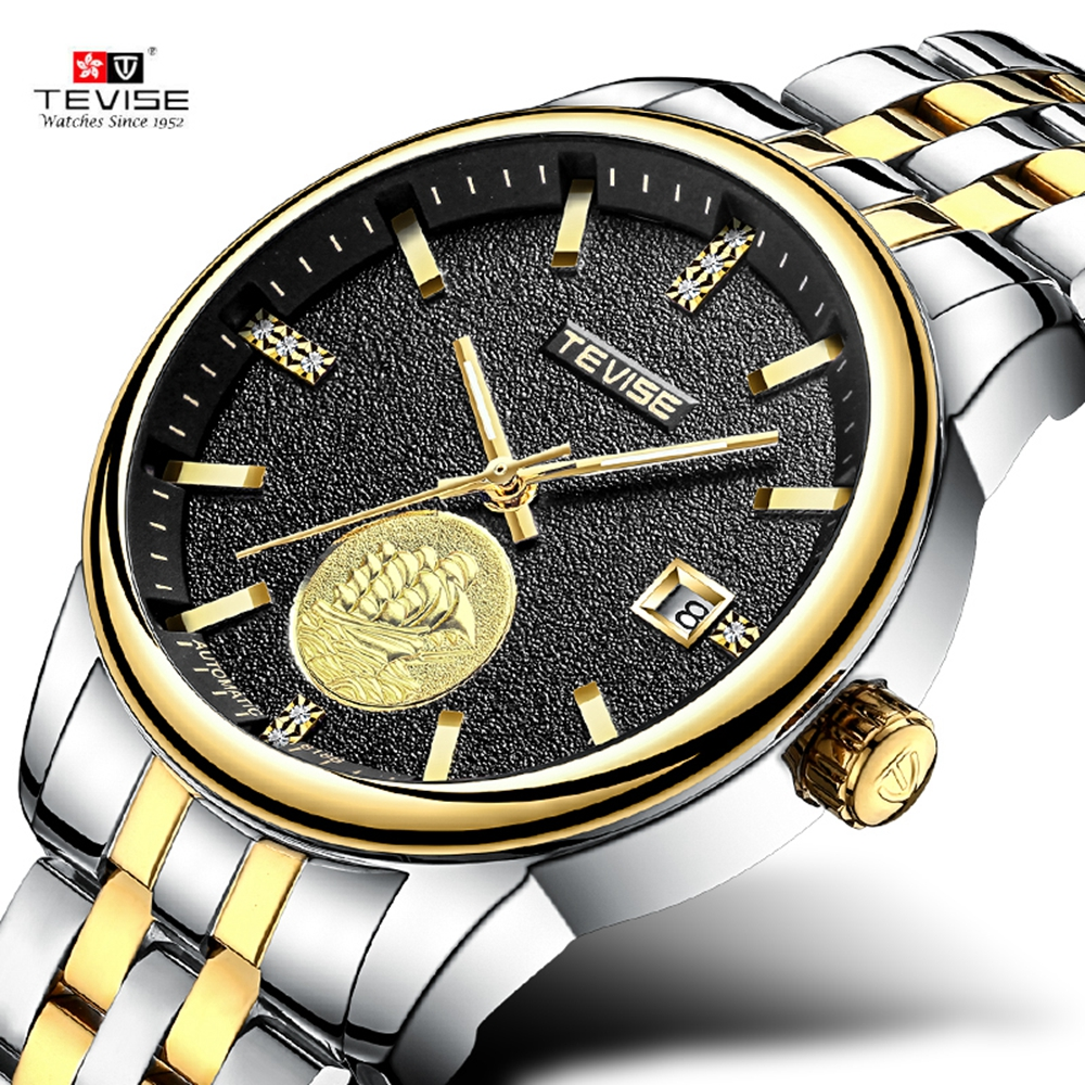 Tevise Men's Cool Wristwatches Moonphase Calendar Auto Mechanical Solid Stainless Steel Strap Watches Xmas Gift Box Free Ship tevise wristwatches steampunk men s roman number day watch automatic mechanical watches gift box free ship