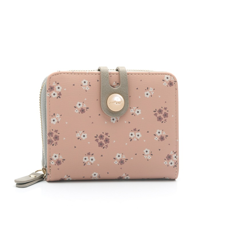 Printing flower women wallet small zipper women purse brand short designer female coin purse lady card holder wallet elegant women s tote bag with pu leather and solid colour design