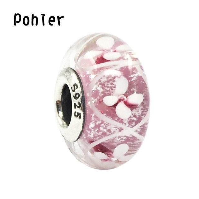 8797e4755005 925 Sterling Silver Pink Campo de Flores de Cristal Murano Beads Fit ...