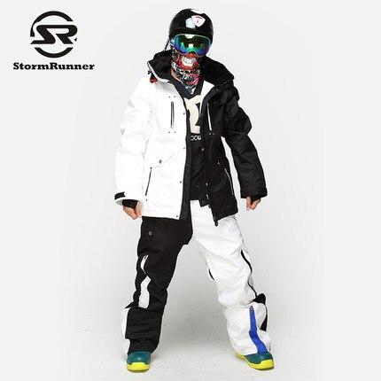 StormRunner Double Snowboard Ski de costume pour homme Épais Étanche Imperméable À L'eau En Plein Air Peut résister-35 Noir et Blanc Mâle Ski Ensembles