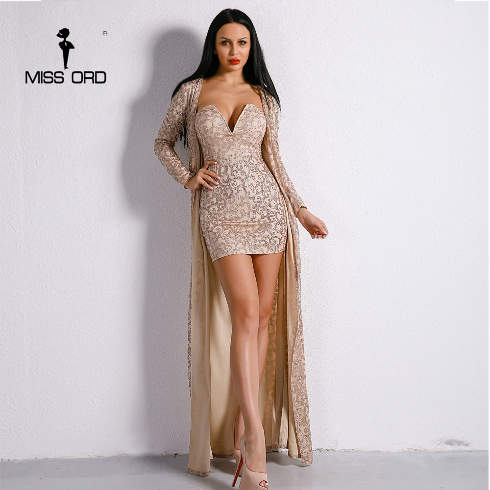 Missord 2017 Sexy Two Pcs V Neck Mini Dress And Glitter Retro Women Sets FT8893