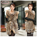2014 Autumn Fashion Long Knitted Rabbit Fur Hooded Vest With Raccoon Trim With Tassel For Women