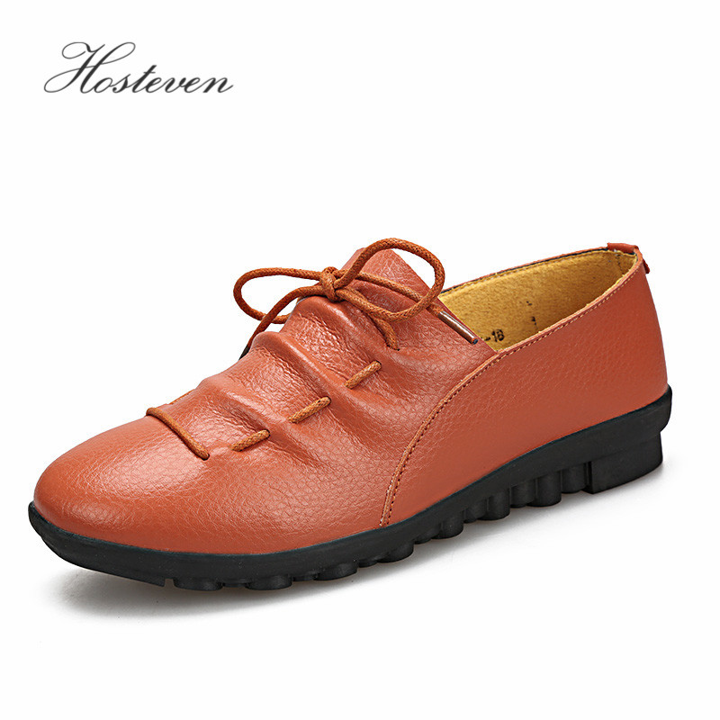 Hosteven Women's Shoes  Mother Loafers Soft Leisure Leather Moccasins Flats Female Driving Casual Footwear Shoes 2017 new leather women flats moccasins loafers wild driving women casual shoes leisure concise flat in 7 colors footwear 918w