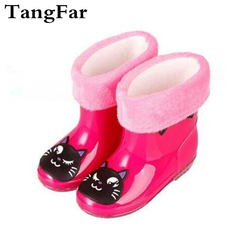 New Child Cartoon Rain Boots Antiskid Plus Cotton Velvet Wellies Boy Girl Cute Rubber Shoe PVC Warm Water Boot 14 Colors