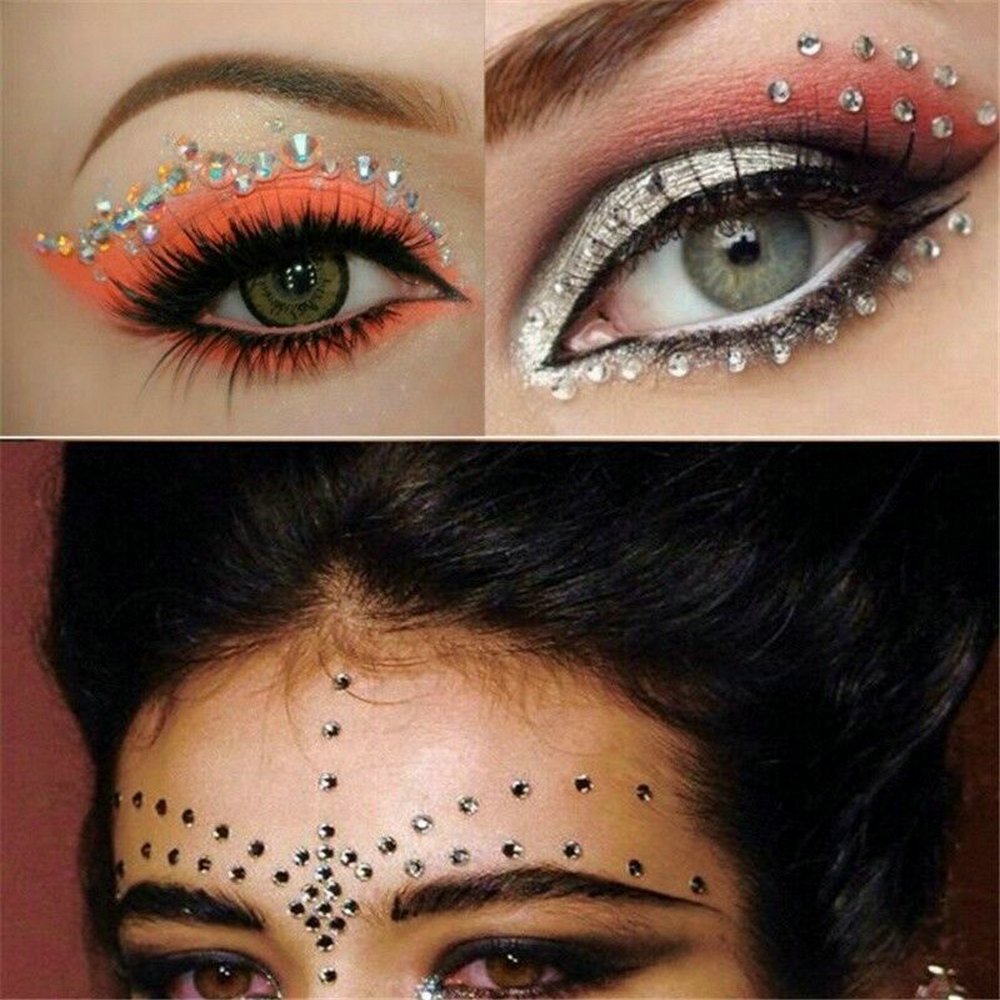 2019 Fashion Women Tattoo Diamond Makeup Eyeliner Eyeshadow Face Sticker Jewel Eyes Makeup Crystal Eyes Sticker