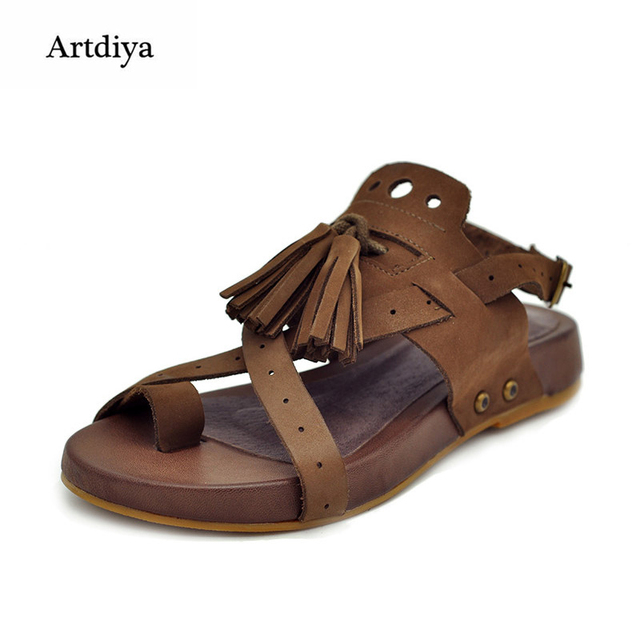 9f0e95d4afcf Artdiya Handmade sandals vintage personality toe-covering flat comfortable  casual sandals genuine leather female shoes