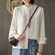 8f8b2359 Ethnci Stlye Spring Linen Hand Embroidered Retro Button Tops Women's  Long-sleeved Cotton and Shirt