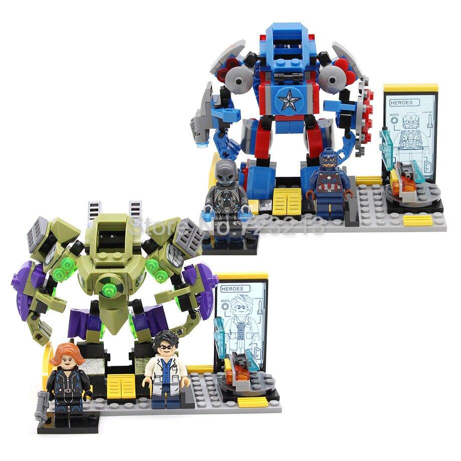 Marvel The Avengers Superheld Figur Set Hulk Captain America Black Widow Ultron Bausteine Sets Modelle Ziegel Spielzeug