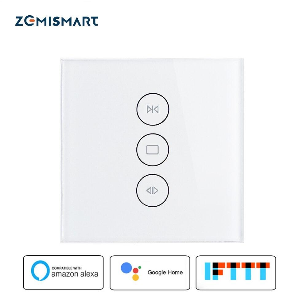 ЕС Smart шторы переключатель Wi Fi Touch голос Управление по Alexa Google дома Siri телефон с голубой подсветкой на стекло панель