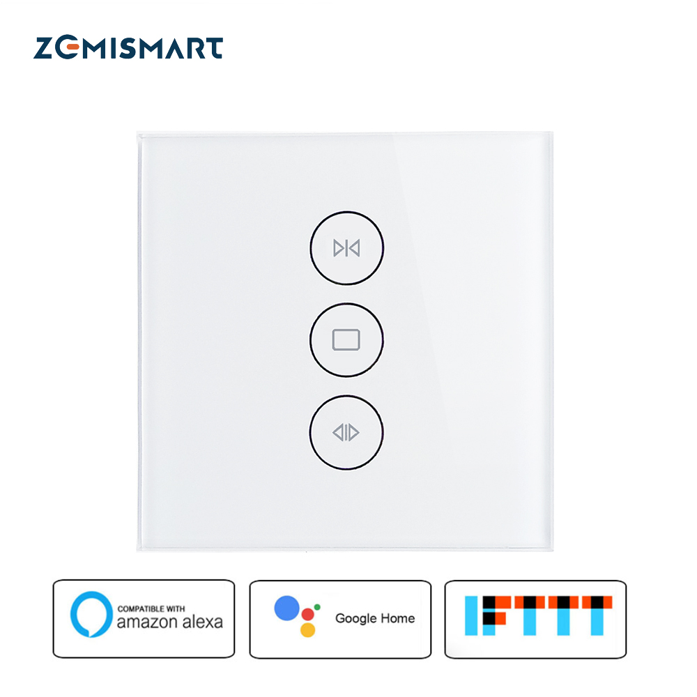 EU Smart Curtain Switch Wifi Touch Voice Control by Alexa Google Home Phone Control With Blue Backlit on Glass Panel mini wifi rgb strip light controller with music control and voice control compatible with google home