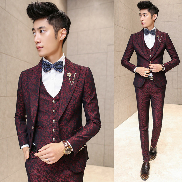 Prom Men (Jacket+Vest+Pants) Suit With Pants Red Floral Jacquard Wedding Suits for Men 3 pieces / Set  Korean Slim Fit Dress