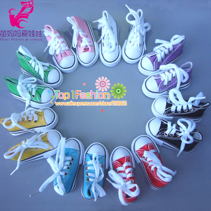 Wholesales Assorted Colors 7.5cm Canvas Shoes For BJD Doll Mini Toy Shoes Bjd Shoes for Russian Doll Accessories 5cm pu leather doll princess shoes for bjd dolls lace canvas mini toy shoes1 6 bjd snickers for russian doll accessories