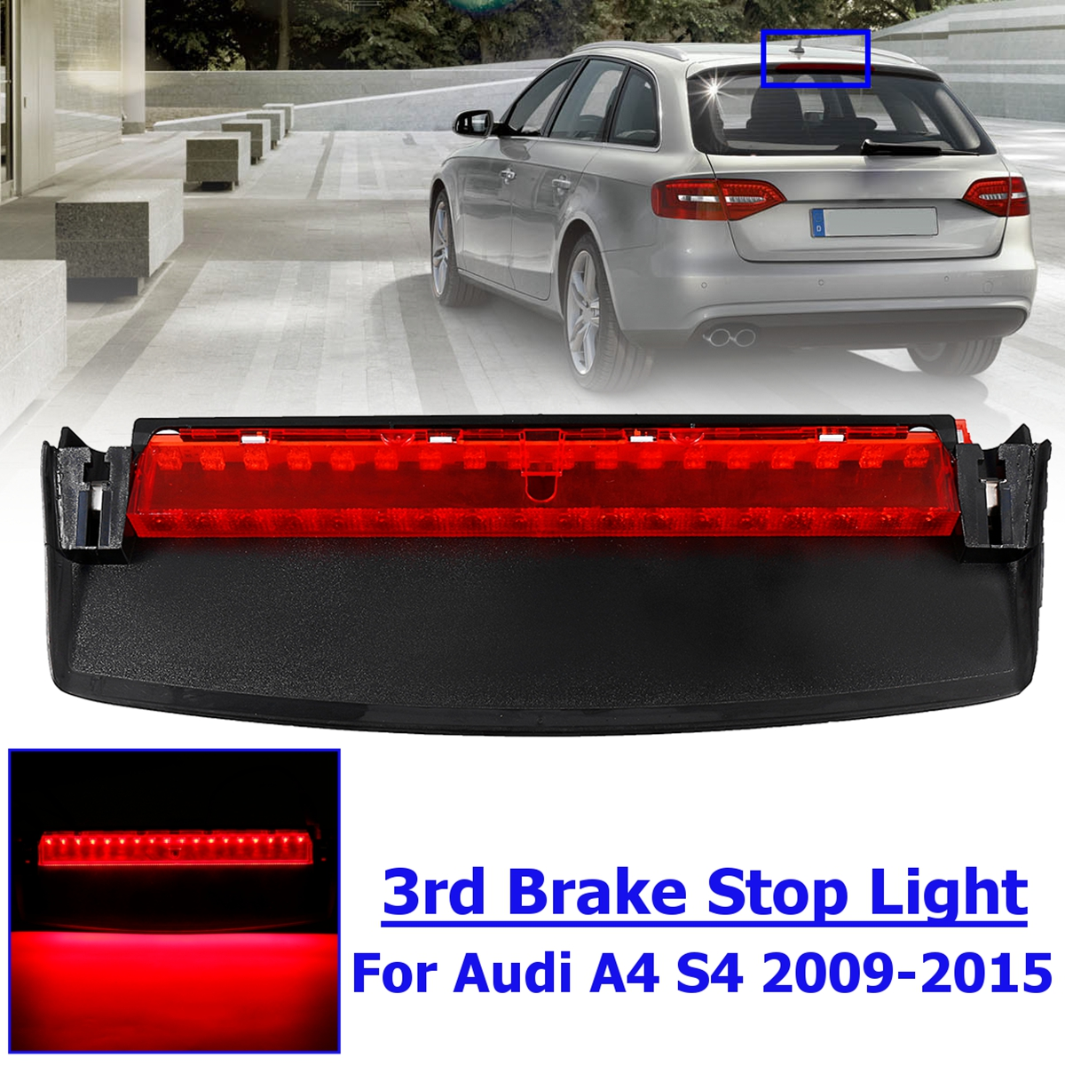 For Audi A4 Quattro S4 2009 2010 2011 2012 2013 2014 2015 8K5945097 Rear LED Third High Brake Mount Stop Lamp Light for audi a4 b8 s4 a4 allroad 2008 2009 2010 2011 2012 2013 2014 2015 car styling right side led fog light fog lamp