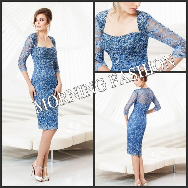 New Designer Morning Fashion Tailor Mother Dress Blue Full Sleeves Lace Lique Knee Length Of