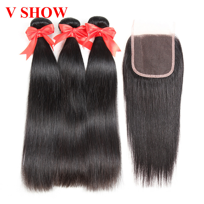Brasilian Straight Hair 3 Bundles With Closure Human Hair Bundles - Mänskligt hår (svart)