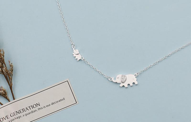 Серебряный цвет милый слон кулон ожерелье Циркон животное для