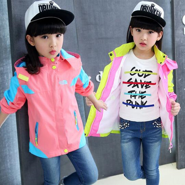 Hooded jacket girls overcoat spring autumn girl jackets children's clothing children long-sleeved clothes