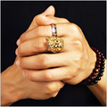 Gold Plated Ice Out CZ 3D Christ Jesus Piece Cross Ring Men's Fashion Chunky Finger Bling Hip Hop Ring Size 6-14 Jewelry