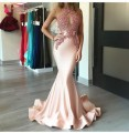 Mermaid Evening Dresses Lace Appliques Beads Formal Evening Prom Gown Pink Skin Color Long Women Lady Event Gowns