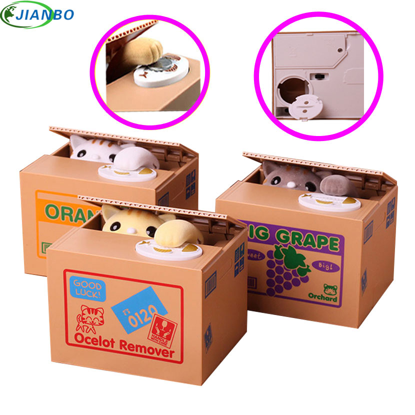 Coin Cat Coins Panda Thief Money Boxes Toy Piggy Bank Gift Kids Safe Box Automatic Stole Coin Money Security Hidden Secret Box
