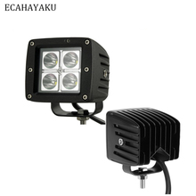 ECAHAYAKU 2x 3 inch 12W Offroad Square LED Work Light bar Lamp Waterprooffog lights for car Truck Vehicle Driving Boat 12v 24v