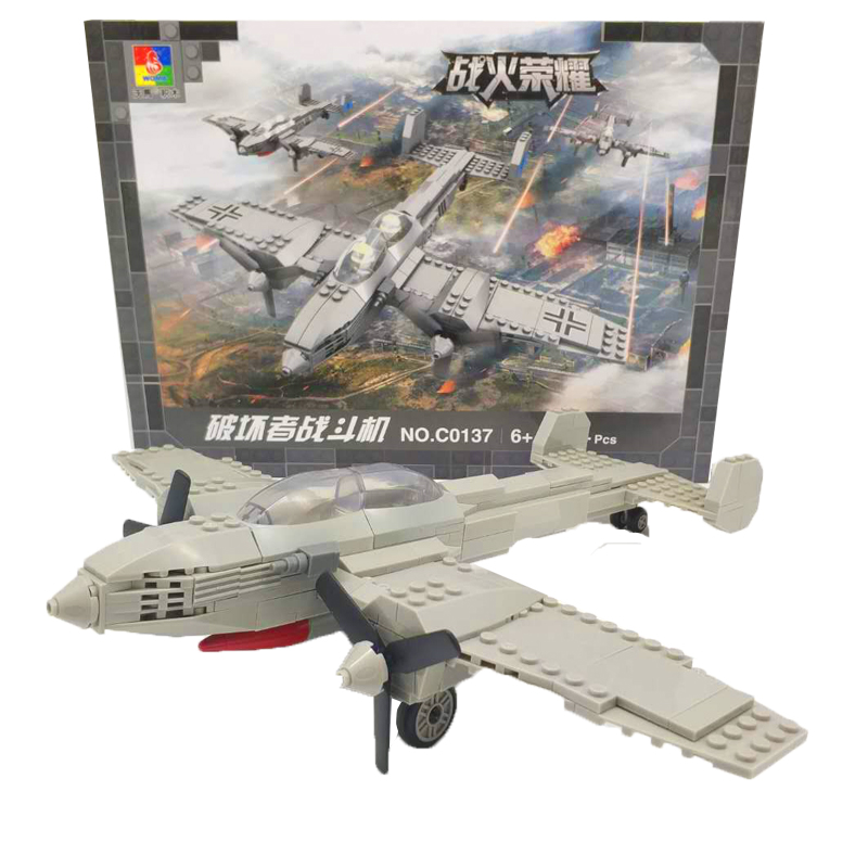 World War II Military Models Bricks Toy For Children  Bf110 Fighter Plane Building Blocks Pilot Figures Compatible LegoINGlys solar military transport plane baron p320 jigsaw puzzle building blocks environmental diy toy