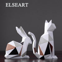 Modern simple geometric origami resin rabbit animal ornaments figurine for home deco