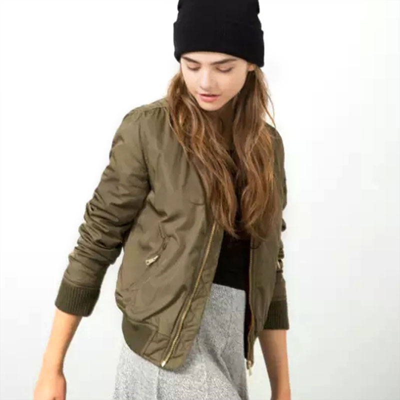 Winter parkas Army Green Bomber Jacket Women Slim Casual Padded Baseball Coat zipper Outerwear Trendy cool basic Short Jacket