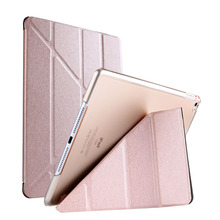 Silicon PU Leather Case For iPadMini 4 Soft Back Trifold Stand Sleep Smart Cover Apple iPadMini4 7.9 inch Tablet