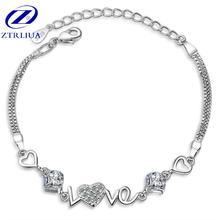 Красивая Любовь Кристалл 925 стерлингов Серебряные ювелирные