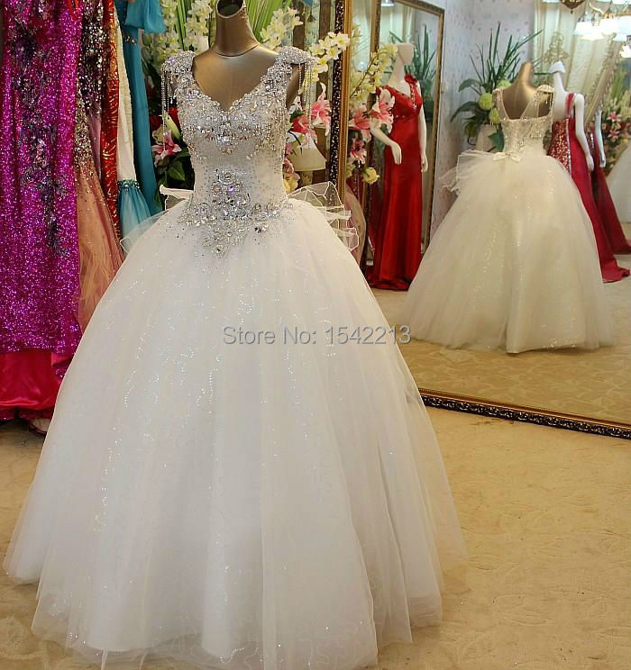 Luxuriant Crystals Beaded V Neck Ball Gown Wedding Dress Princess