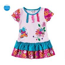 JUXINSU Toddler Cotton Summer Flower Girls Short Sleeve Dress for Baby Girl Kids 1-6 Years