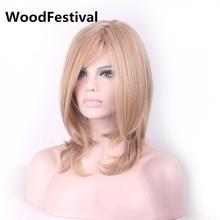 fiber womens hair wigs heat resistant straight wig synthetic wigs blonde medium wig 40 cm WoodFestival  short straight oblique bang heat resistant fiber wig