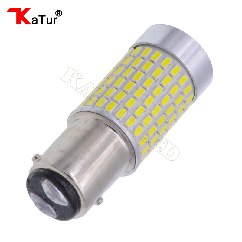 1pc 1157 BAY15D 1500 Lumens Extremely Bright 144 Chipsets P21/5W 1016 LED Bulbs with Projector For Brake Light,6000K Xenon White