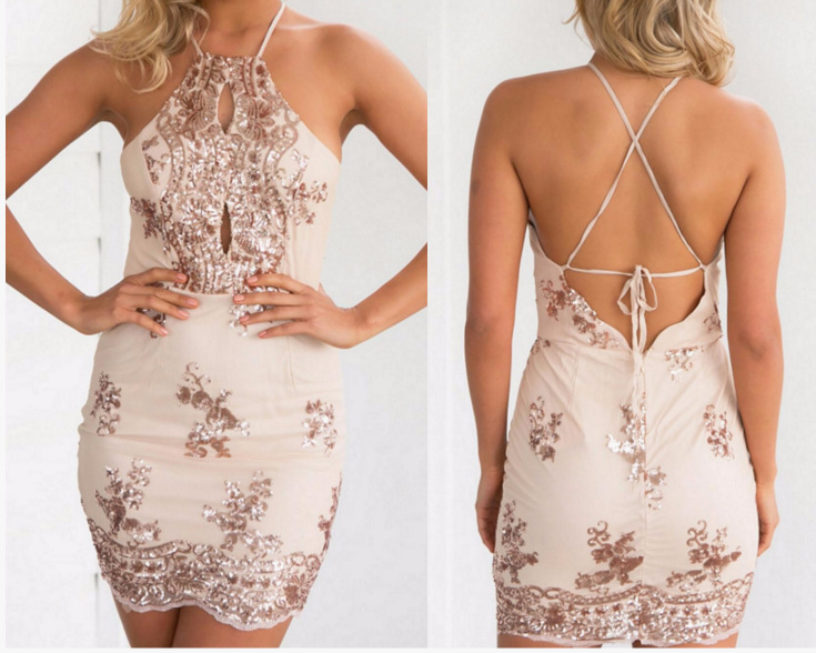 493b7d14963cb Sexy Women Party Dress 2018 Summer Hanging Neck Cross Back Bandage  Embroidery Sequin Dress Keyhole Mini Beach Dress Sommer Kleid