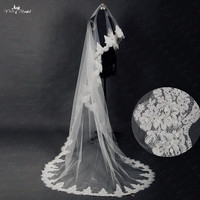 RSV14 Long Veil Wedding Gauze Sequins Lace White