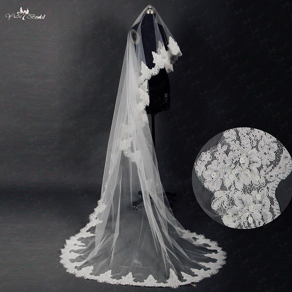 RSV14 voile Long mariage gaze paillettes dentelle blanc