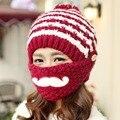 Bigode Máscara Skullies & Gorros de Malha Chapéus de Inverno para As Mulheres Ao Ar Livre Esqui Chapéu Mantenha Orelha Quente Caps com Bolas de Acrílico
