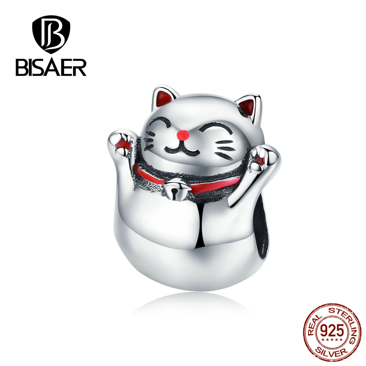 BISAER Cat Beads 925 Sterling Silver Maneki Neko Lucky Plutus Cat Beads Charms fit DIY Bracelets Silver 925 Jewelry ECC1178 in Beads from Jewelry Accessories