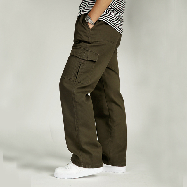 63ec756826743 Big SIze XL 6XL Autumn Winter Men s Cargo Pants Cotton Pocket Joggers Harem  Pants Casual Loose Wide Leg Long Trousers