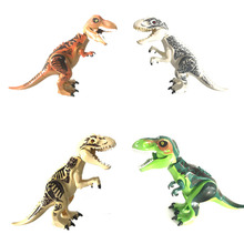 Jurassic world tyrannosaurus rex white yellow green and other dinosaurs dinosaur toys compatible building blocks