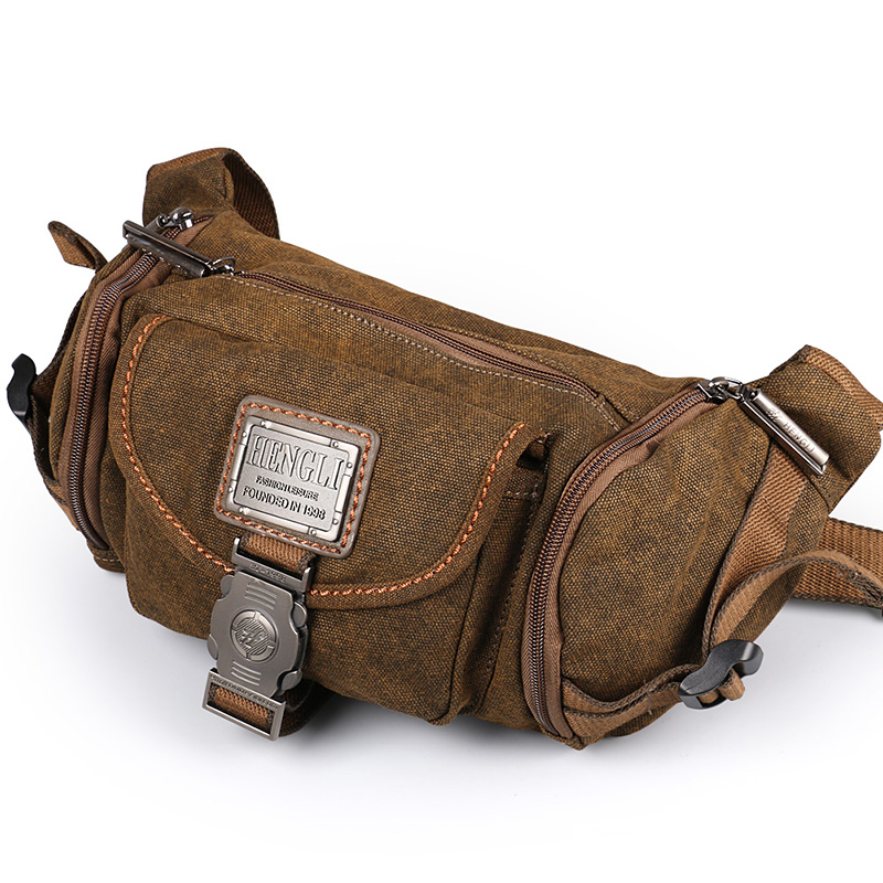 Ruil Retro Canvas Waist Bag Men's Fashion Multi-functional Pockets Leisure Travel Phone Bag High-quality Toolkit Vintage Package