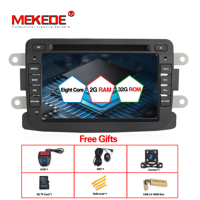 Octa núcleo 32 GB ROM Android7.1 GPS Car Multimedia player para Renault Duster Logan Sandero Dacia dvr/câmera/usb/ferramenta/SD Para O presente